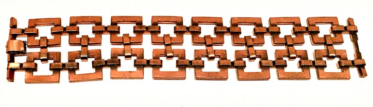 50'S Modernist Copper Geometric Chain Link Bracelet & Earrings S/3 By Matisse For Sale 7
