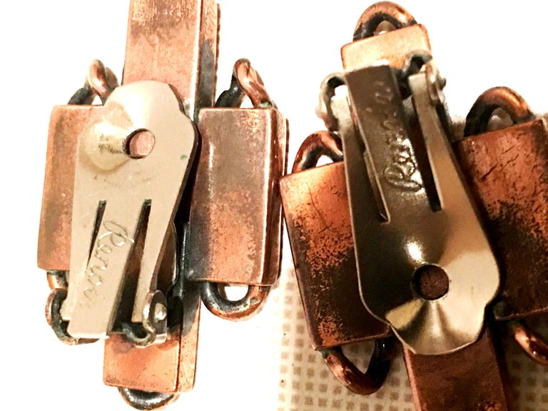 50'S Modernist Copper Geometric Chain Link Bracelet & Earrings S/3 By Matisse For Sale 8