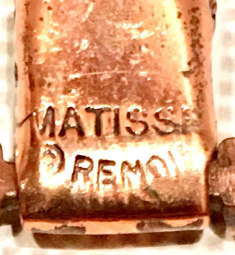 50'S Modernist Copper Geometric Chain Link Bracelet & Earrings S/3 By Matisse For Sale 9