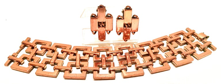 50'S Modernist Copper Geometric Chain Link Bracelet & Earrings S/3 By Matisse In Good Condition For Sale In West Palm Beach, FL