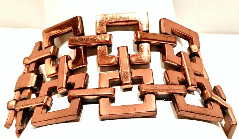 Women's or Men's 50'S Modernist Copper Geometric Chain Link Bracelet & Earrings S/3 By Matisse For Sale