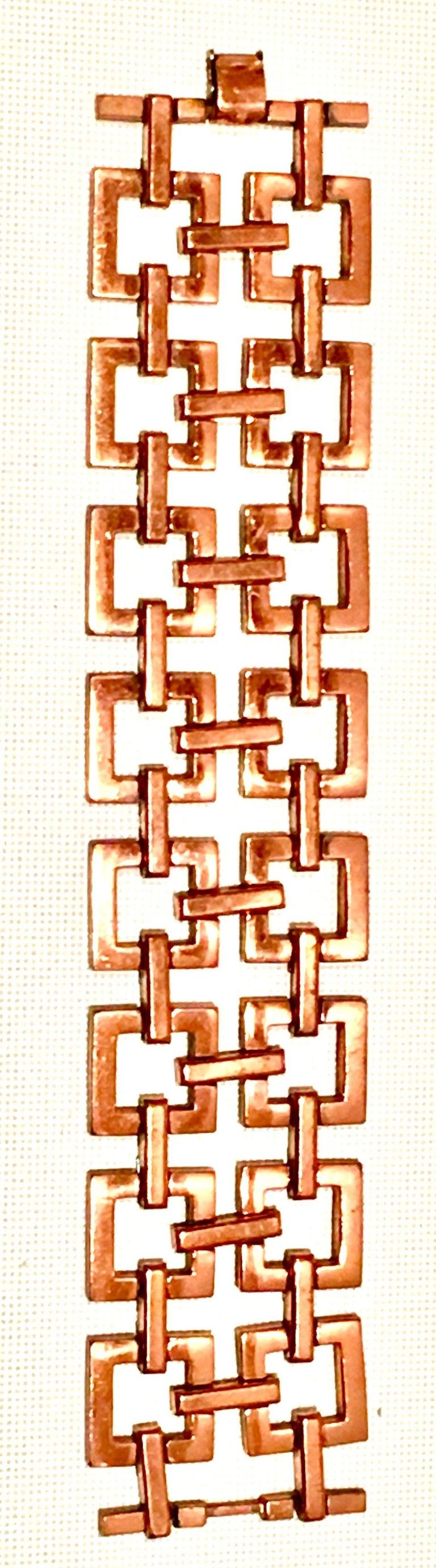 50'S Modernist Copper Geometric Chain Link Bracelet & Earrings S/3 By Matisse For Sale 1