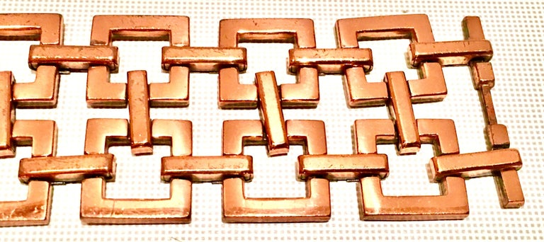 50'S Modernist Copper Geometric Chain Link Bracelet & Earrings S/3 By Matisse For Sale 2