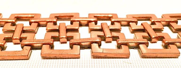 50'S Modernist Copper Geometric Chain Link Bracelet & Earrings S/3 By Matisse For Sale 3