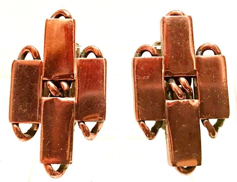 50'S Modernist Copper Geometric Chain Link Bracelet & Earrings S/3 By Matisse For Sale 4