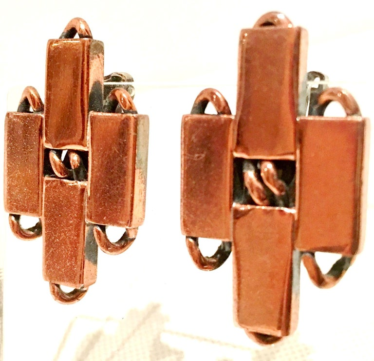 50'S Modernist Copper Geometric Chain Link Bracelet & Earrings S/3 By Matisse For Sale 5