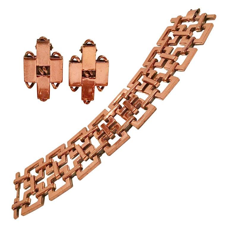 50'S Modernist Copper Geometric Chain Link Bracelet & Earrings S/3 By Matisse For Sale