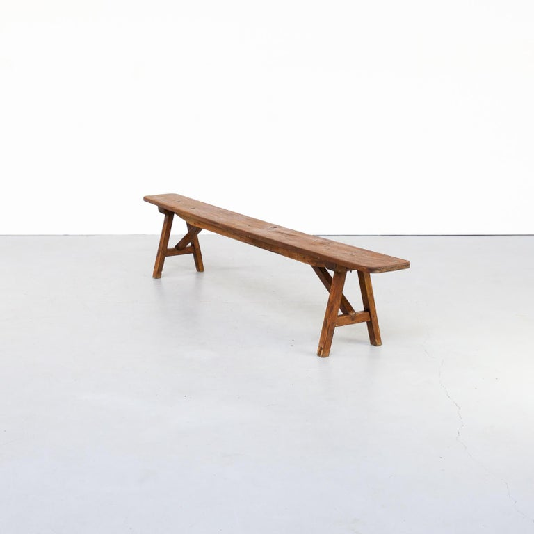French 50s Organic Shaped Wooden Bench For Sale