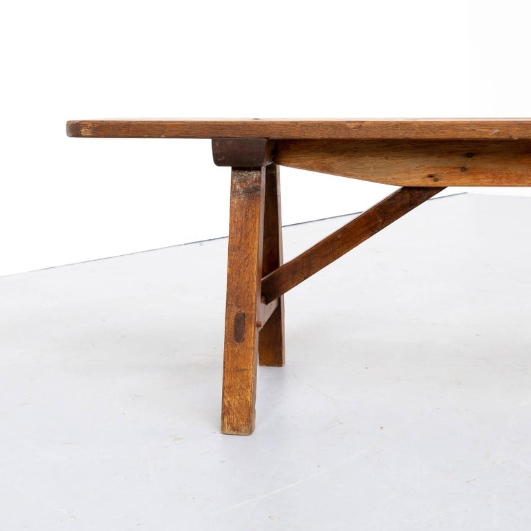 Oak 50s Organic Shaped Wooden Bench For Sale