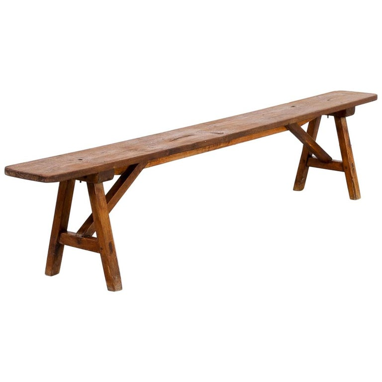 50s Organic Shaped Wooden Bench For Sale
