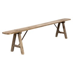 50s Organic Shaped Wooden Bench