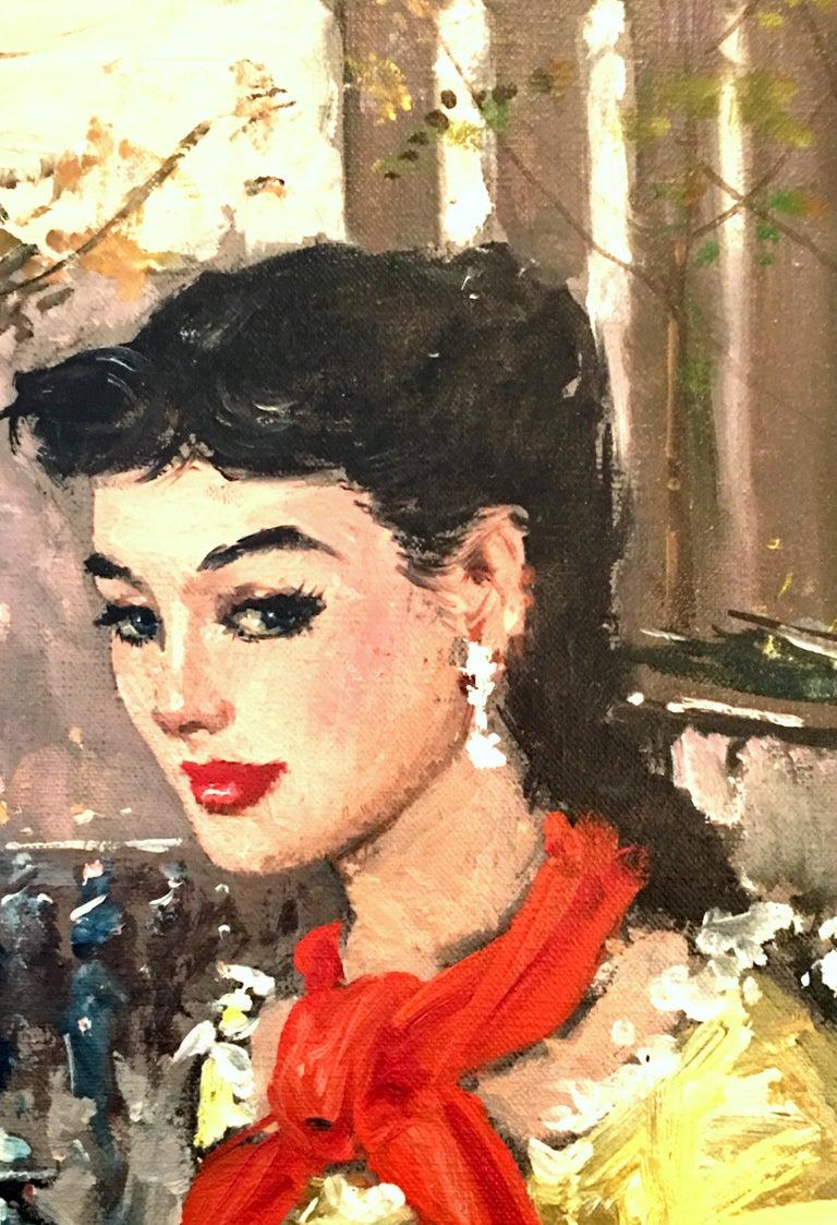 Mid-20th Century 1955 Original Oil on Canvas Painting