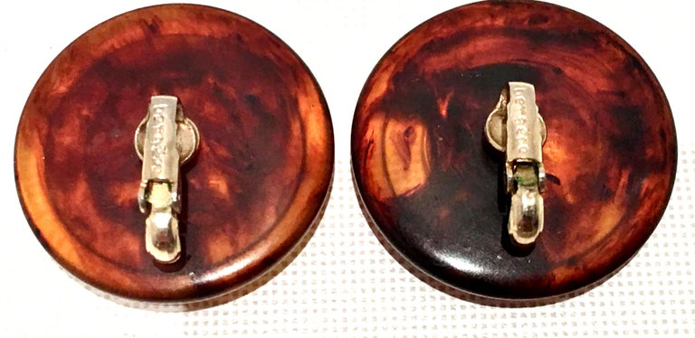 50'S Pair Bakelite Faux Tortoise 1958 US Lincoln Penny Coin Earrings By, Bergere For Sale 4