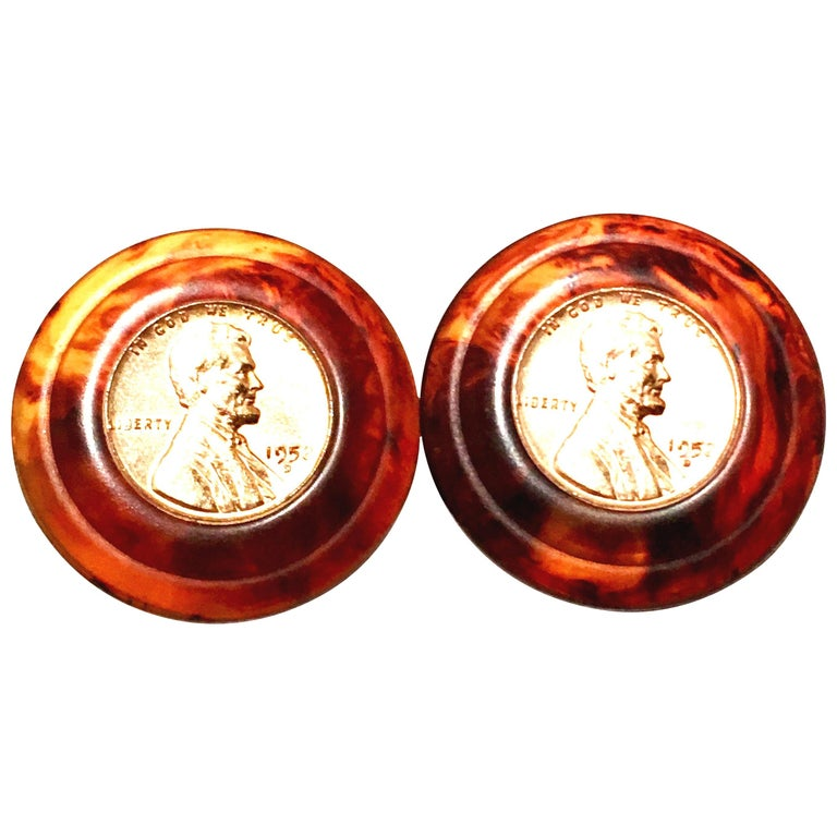 50'S Pair Bakelite Faux Tortoise 1958 US Lincoln Penny Coin Earrings By, Bergere For Sale