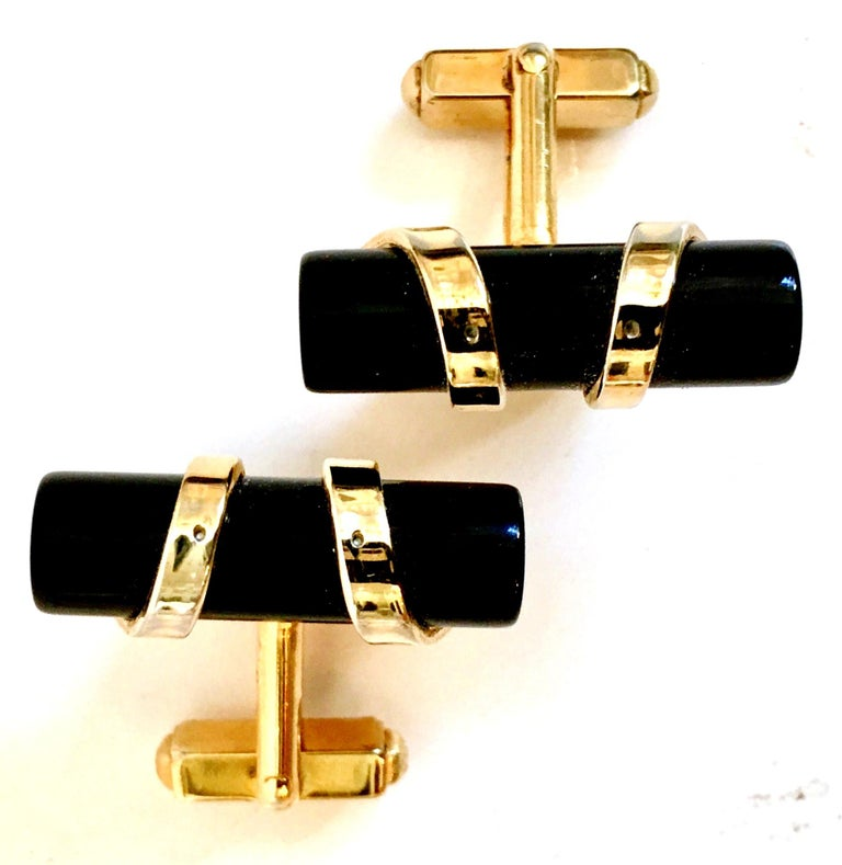 1950'S Art Deco style tubular authentic onyx wrapped in 12K gold cuff links by, Anson. These vintage cuff links are signed, Anson.