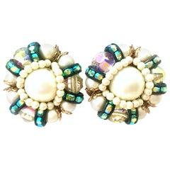 50'S Pair Of Gold,  Milk Glass & Swarovski Crystal Earrings By, Hobe