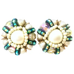 50'S Pair Of Gold,  Milk Glass & Swarovski Crystal Earrings By, Hobe