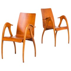 1950s Pair of Sculptural Armchairs in Walnut for Malatesta and Mason