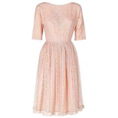 50s Pink Lace Midi Dress