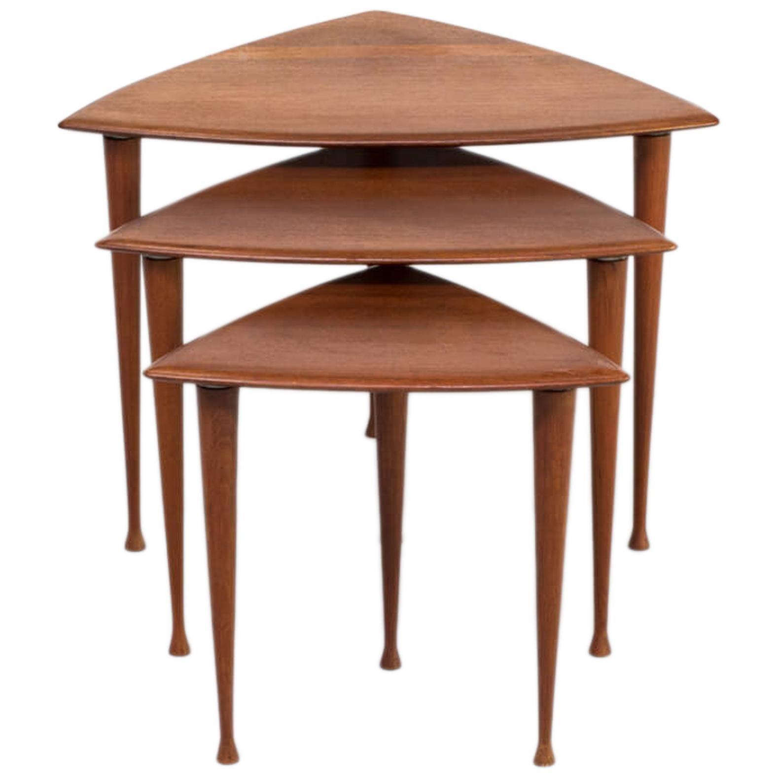 1950s Poul Thorsbjerg Jensen Teak Veneer Triangle Nesting Tables for Selig