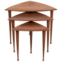 1950s Poul Thorsbjerg Jensen Teak Veneer Triangle Nesting Tables for Selig