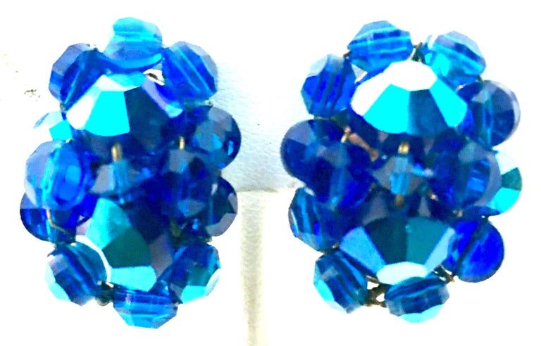 50'S Silver & Peacock Blue Art Glass Bead & Swarovski Crystal Rivoli Earrings. These brilliant cut and faceted stone earrings mounted on silver clip style backs.