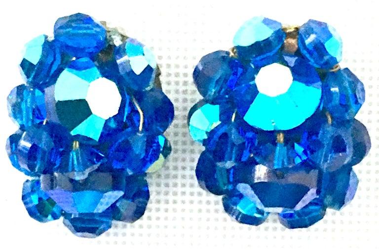 50'S Silver & Peacock Blue Art Glass Bead & Swarovski Crystal Rivoli Earrings In Good Condition For Sale In West Palm Beach, FL