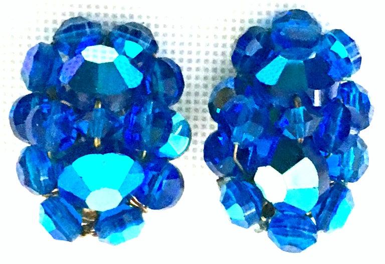 Women's or Men's 50'S Silver & Peacock Blue Art Glass Bead & Swarovski Crystal Rivoli Earrings For Sale