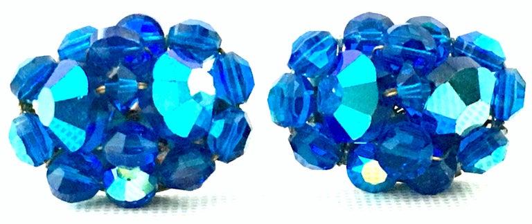 50'S Silver & Peacock Blue Art Glass Bead & Swarovski Crystal Rivoli Earrings For Sale 1