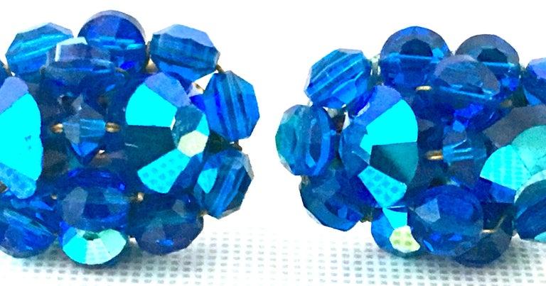 50'S Silver & Peacock Blue Art Glass Bead & Swarovski Crystal Rivoli Earrings For Sale 2