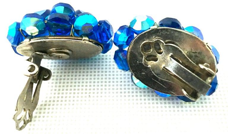 50'S Silver & Peacock Blue Art Glass Bead & Swarovski Crystal Rivoli Earrings For Sale 3