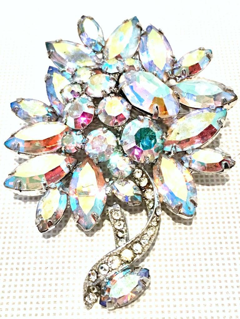 1e3d0d5d1785 1950 S Silver   Swarovski Crystal Aurora Borealis Rhinestone Dimensional  Abstract Flower Brooch Signed