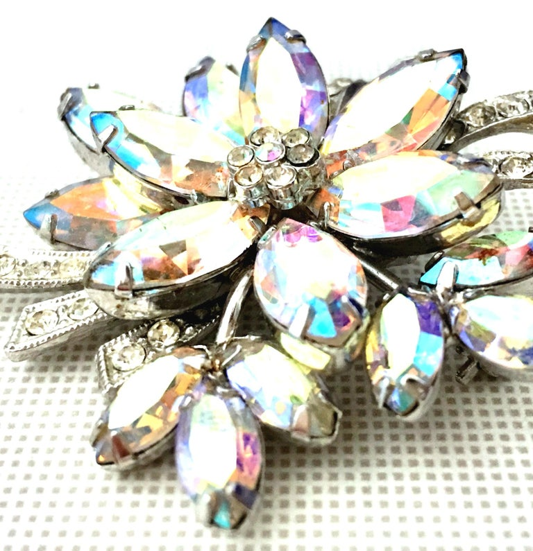 50'S Silver and Swarovski Crystal Abstract Flower Brooch