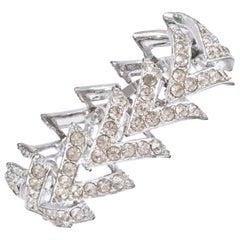"""50'S Silver & Swarovski Crystal """"V"""" Link Bracelet By, Coventry"""