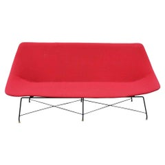 50s Sofa Black Tubular Frame Red Upholstery design by Augusto Bozzi for Saporiti