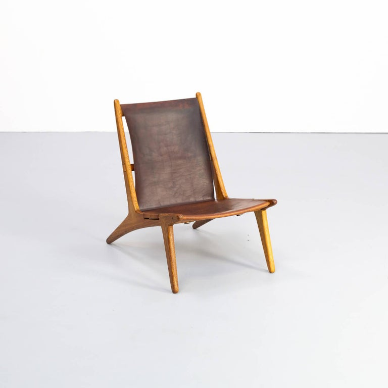 Leather 1950s Uno & Östen Kristiansson model 204 Hunting Chair by for Luxus