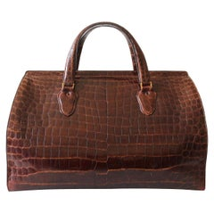 50's Valextra Crocodile Large Bag