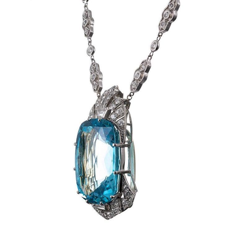 Mixed Cut 51 Carat Aquamarine & Diamond Necklace For Sale