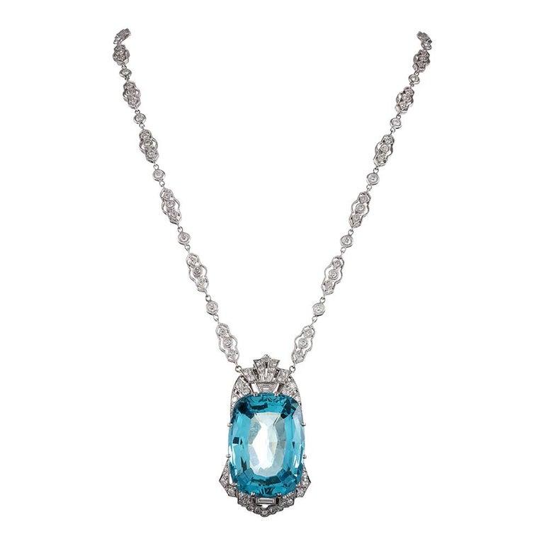 51 Carat Aquamarine & Diamond Necklace For Sale