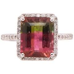 5.1 Carat Bicolored Tourmaline and Diamond Ring