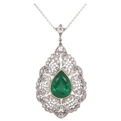 5.1 Carat GIA Emerald Diamond Platinum Gold Pendant Necklace Estate Fine Jewelry