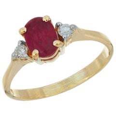 .51 Carat Ruby Diamond Yellow Gold Three-Stone Engagement Ring