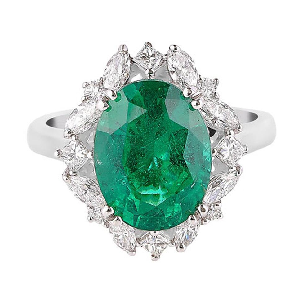 5.1 Carat Zambian Emerald and Diamond Ring in 18 Karat White Gold
