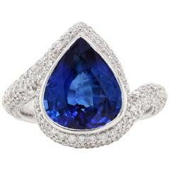 5.10 Carat Blue Sapphire Diamond Solitaire Ring