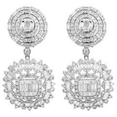 5.10 Carat Diamond 18 Karat White Gold Earrings