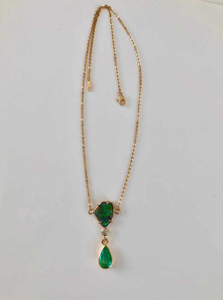 5.10 Carat Emerald Boulder Opal Diamond Pendant Necklace 18 Karat In Excellent Condition For Sale In Brunswick, ME