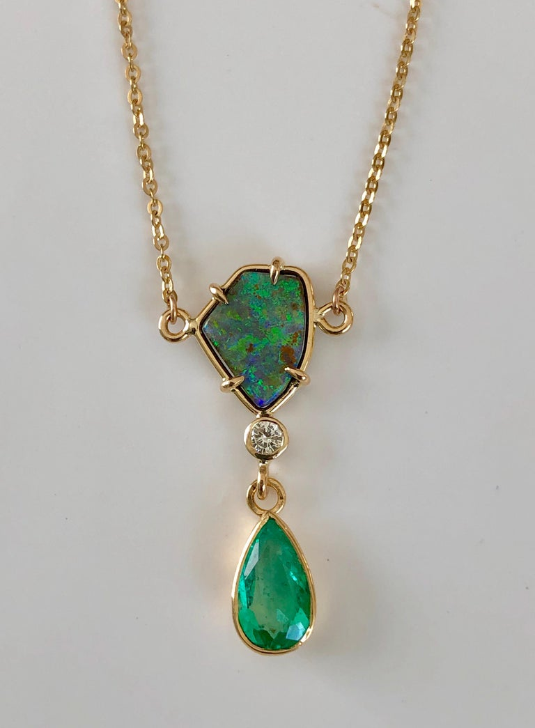 Women's 5.10 Carat Emerald Boulder Opal Diamond Pendant Necklace 18 Karat For Sale