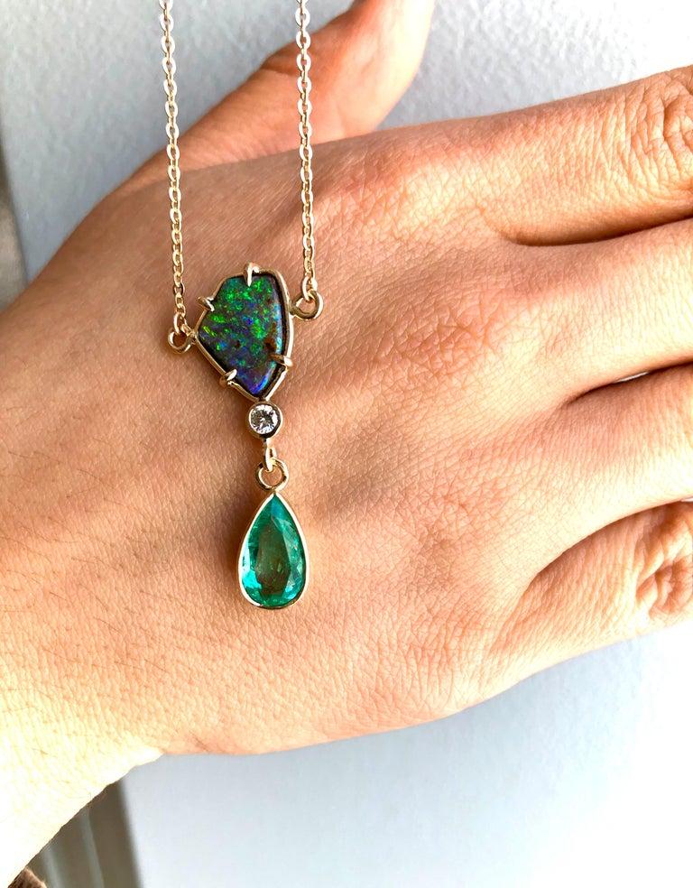 Contemporary 5.10 Carat Emerald Boulder Opal Diamond Pendant Necklace 18 Karat For Sale