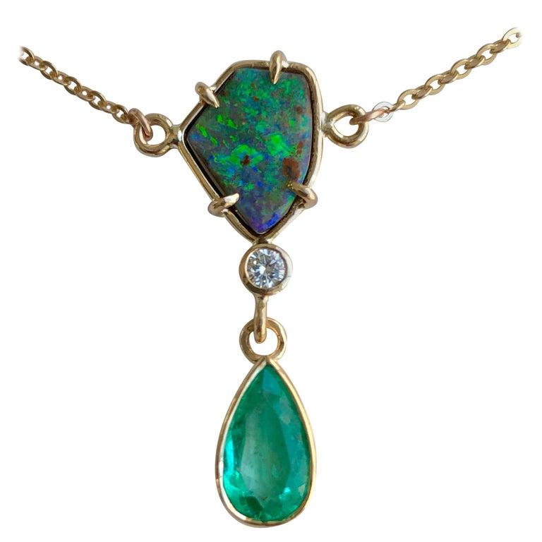 5.10 Carat Emerald Boulder Opal Diamond Pendant Necklace 18 Karat For Sale