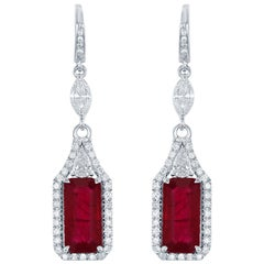 5.10 Carat Emerald Cut Ruby Earrings with 1.45ct of Diamonds in 18kt White Gold